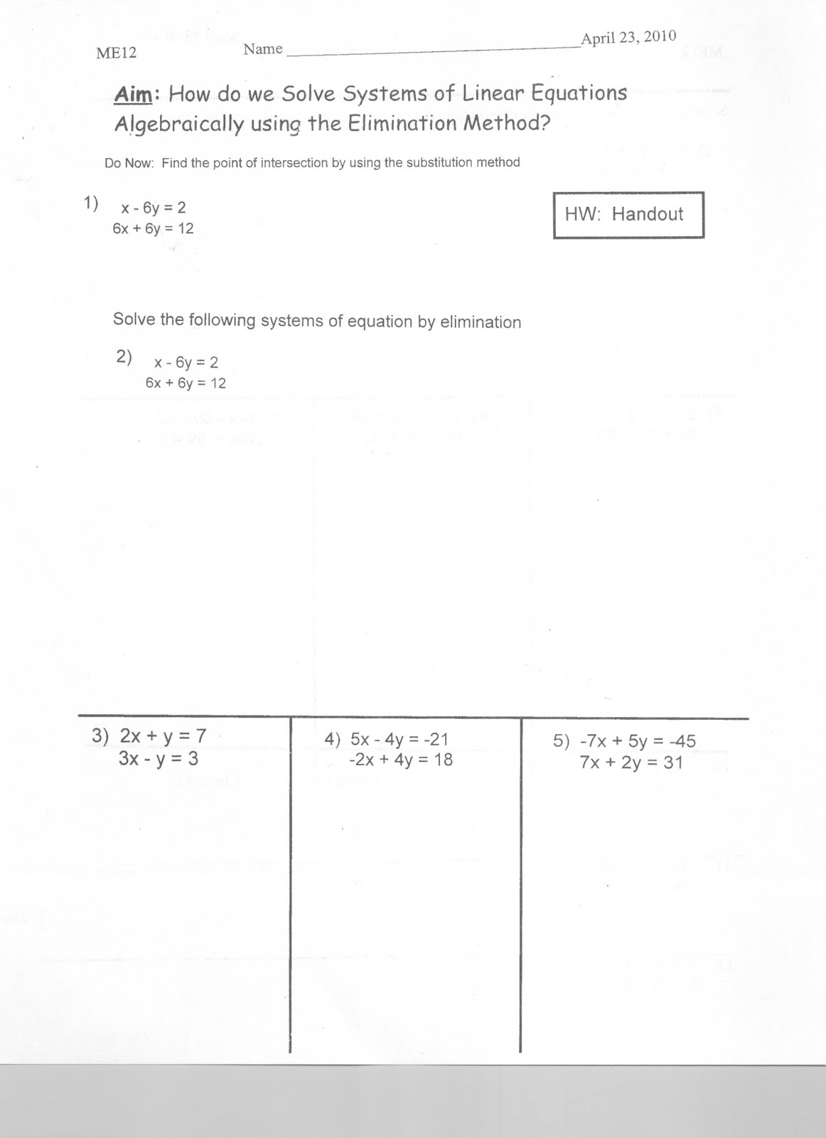 Mr Napoli S Algebra Aim How Do We Solve Systems Of