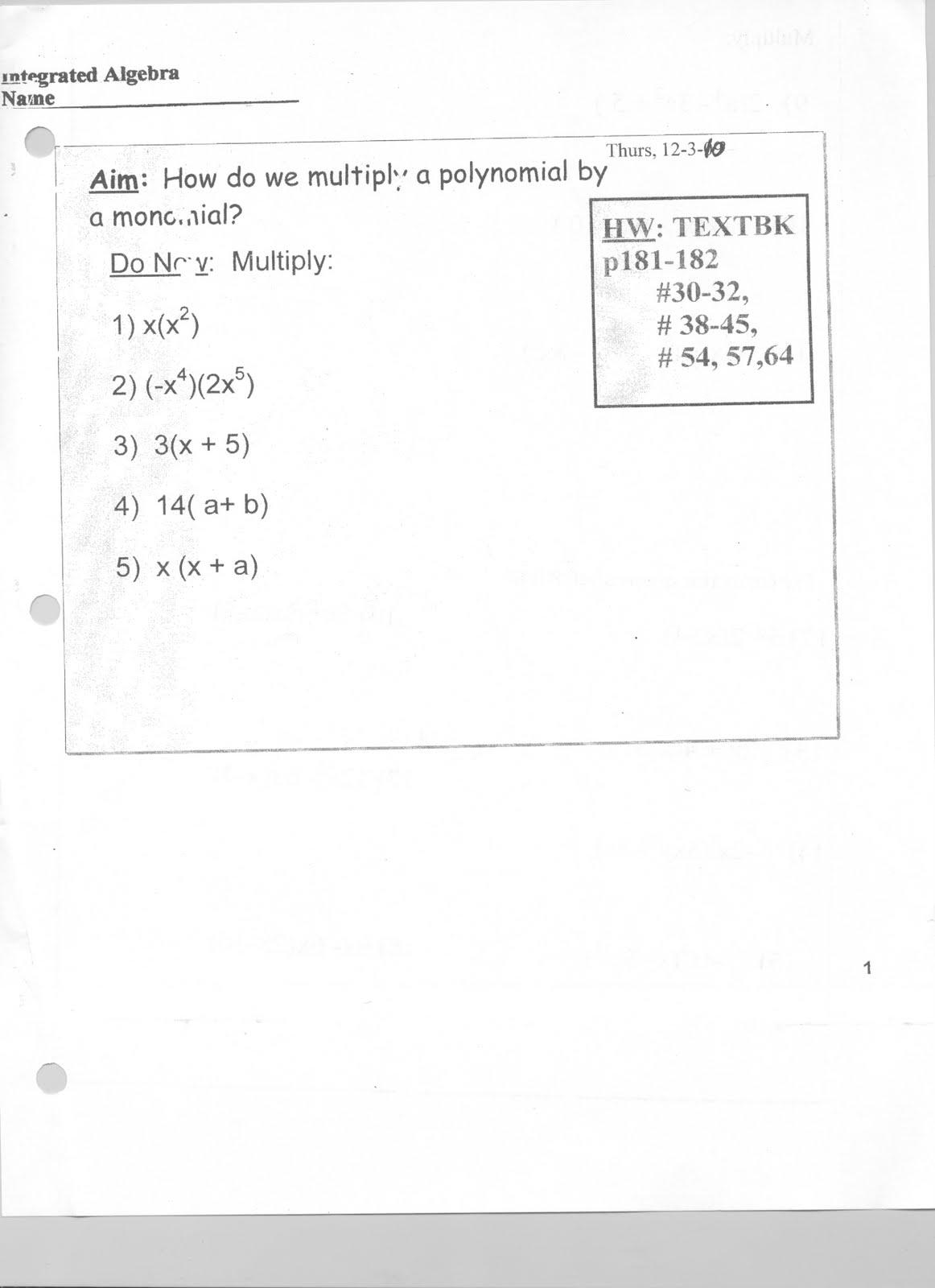 Mr Napoli S Algebra November