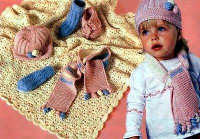Вязание для малышей: Вязаные одеяло, пинетки, шапочка ...