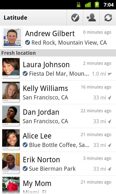 Les check-ins (enregistrements) sont désormais disponibles sur Google Latitude !