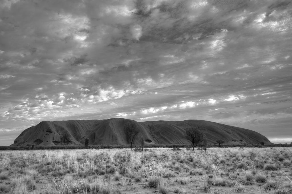 Uluru ayers rock in black white australia