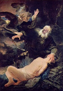 Abraham about to sacrifice his son Isaac is stopped by an angel from God
