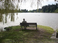Solitary person overlooking Lost Lagoon in Vancouver's Stanley Park