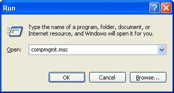 Launch computer management from Run window