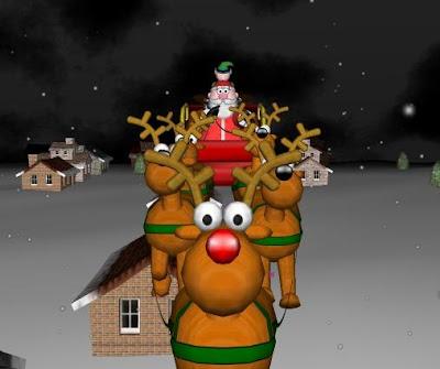 Santa, and his reindeer