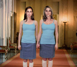 The ghostly former first daughters, shortly after a White House elevator reportedly overflowed with cherry daiquiri.