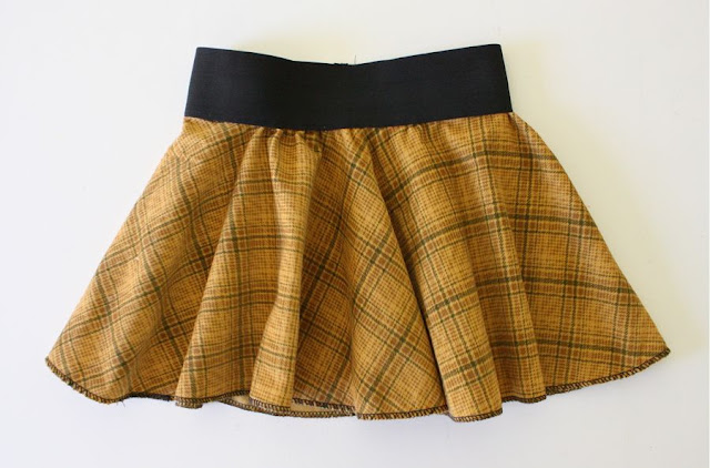 New Girls Children Circular Tartan Check Elasticated Skirt