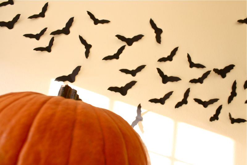 A swarm of bat cutouts are on the wall above a real pumpkin which is in the bottom left of the image