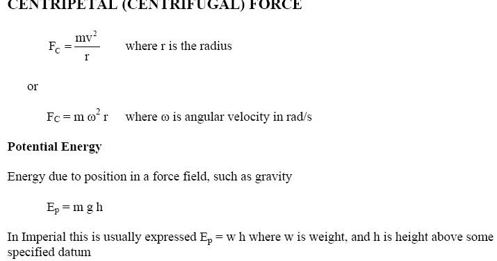 Centripetal Centrifugal Force Potential Energy Equations