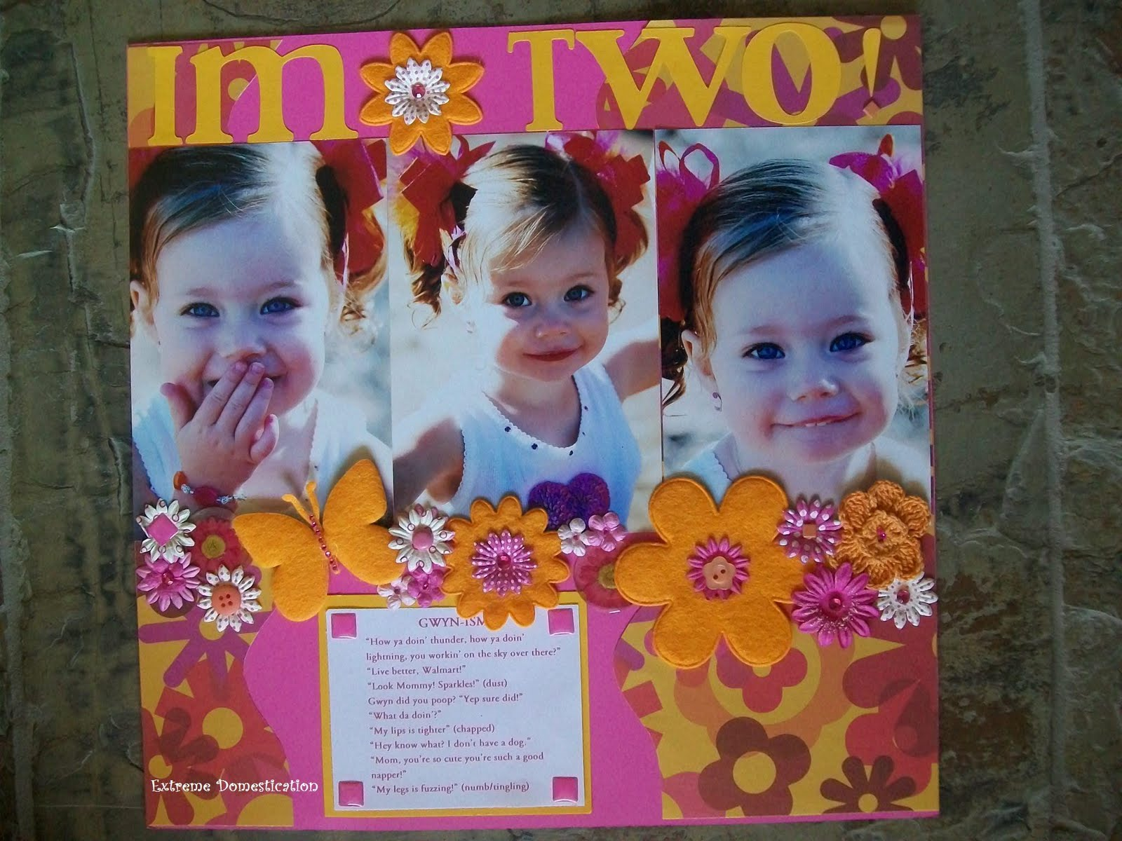 Extreme Domestication: Pink and Orange Scrapbook Layout