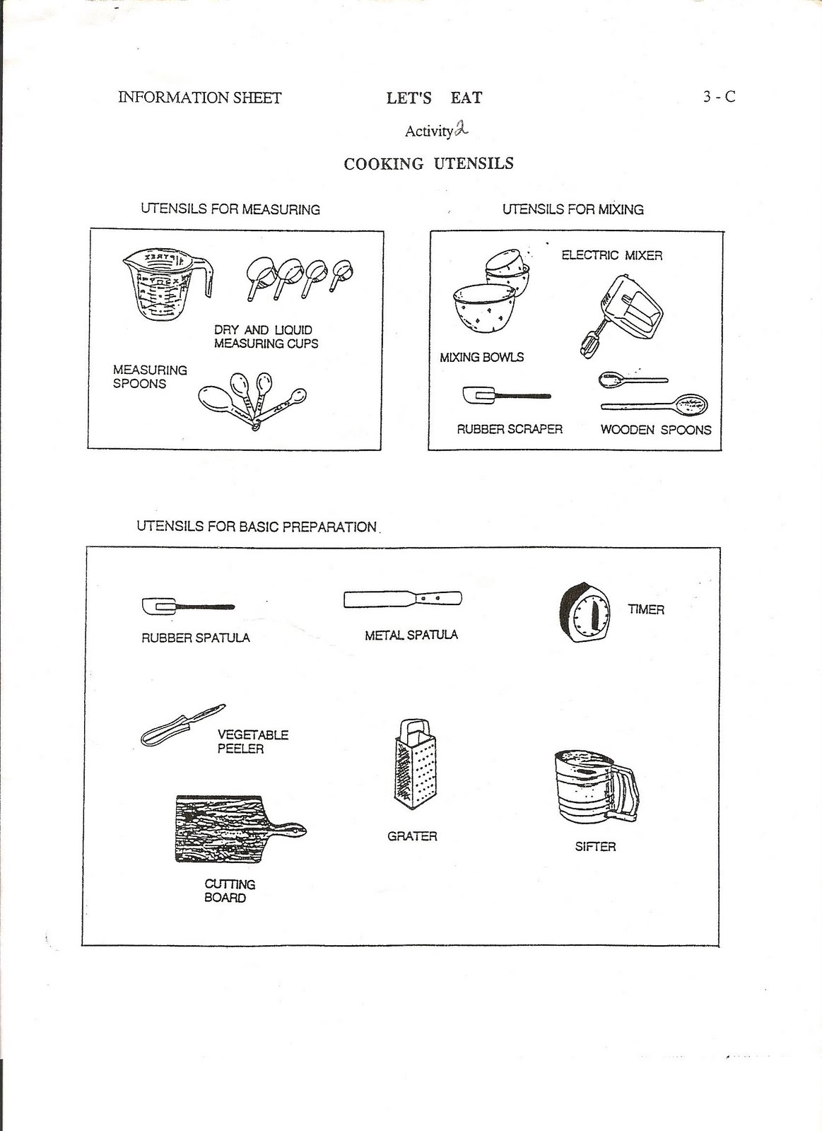 Chapter 9 Kitchen Utensils Worksheet Kitchen Utensils