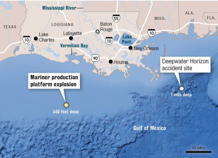 louisiana oil rig map Oil Rig Explodes In Gulf Injuring 1 Worker And Causing Mile Long louisiana oil rig map