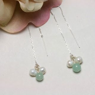 Freshwater Pearl Jade Gemstone Drop Earrings (E146)