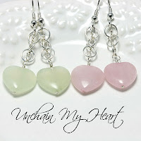 Unchain My Heart Gemstone Beaded Earrings: Jade Gemstone, Rose Quartz Gemstone