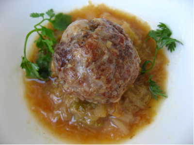meatballs with napa cabbage