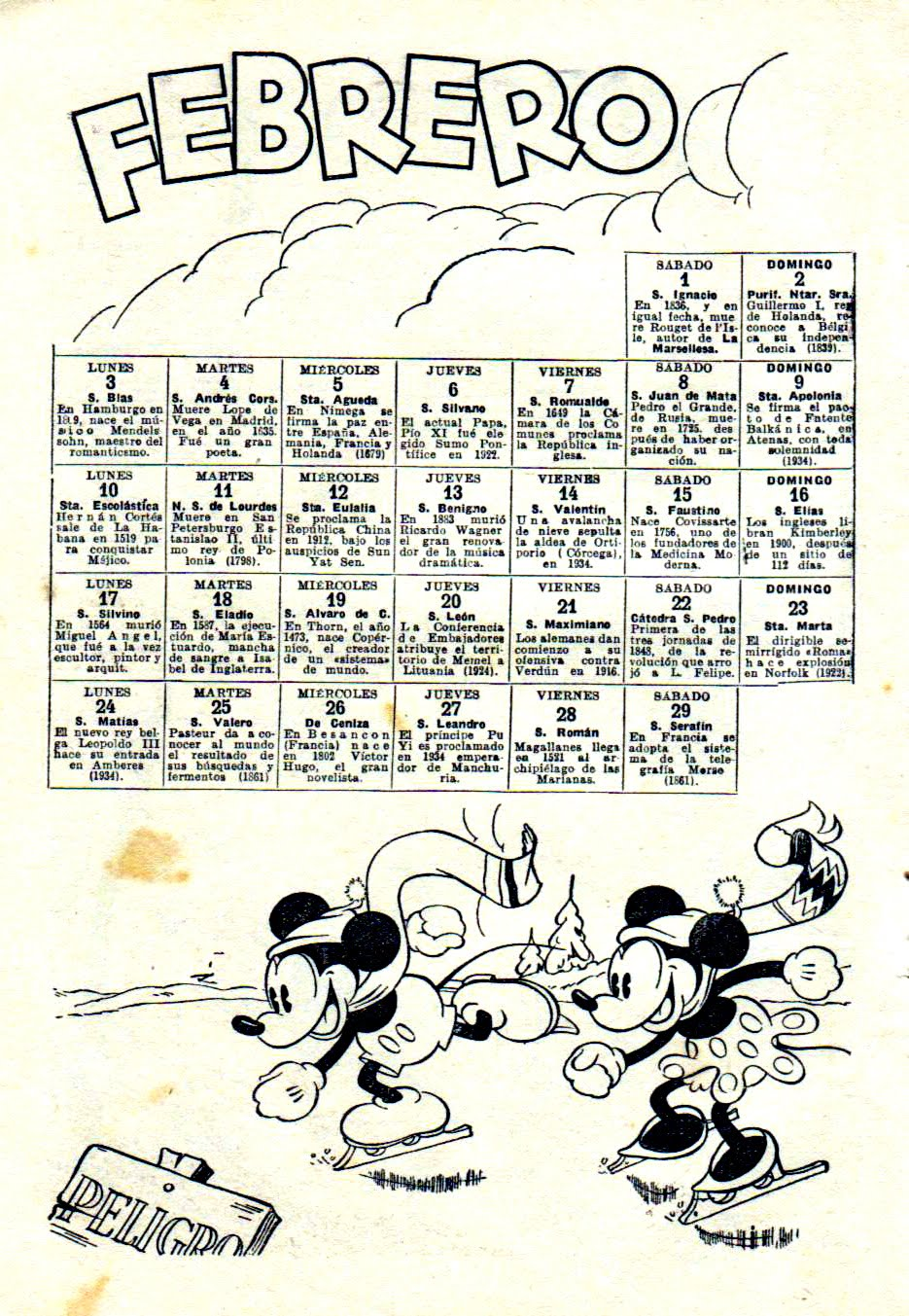 Calendario 1936.Calendario 1936
