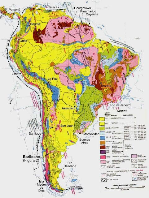 Mapa Geológico de Sur-América.