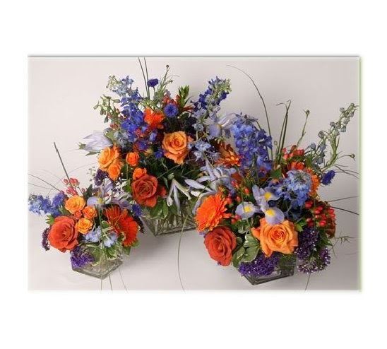 Blue Flower Centerpieces For Weddings: Chicago Wedding Flowers: Orange, Blue, And Purple Centerpieces