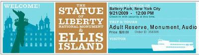 Ticket visita de la estatua de la libertad