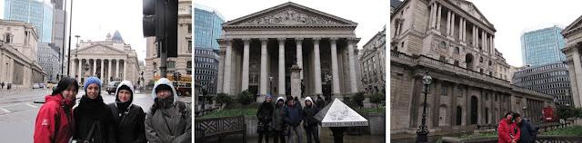 La bolsa y el banco de Inglaterra, en Londres