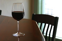 glass of wine on a table
