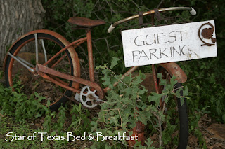 guest parking sign on an old bike
