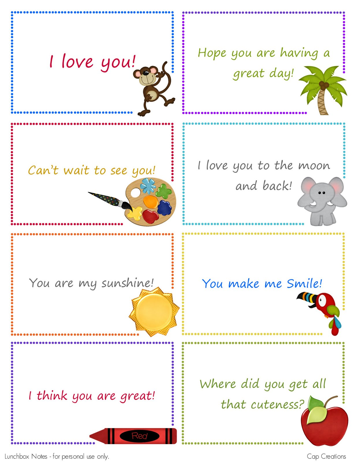 Cap Creations Free Printable Lunchbox Note Cards