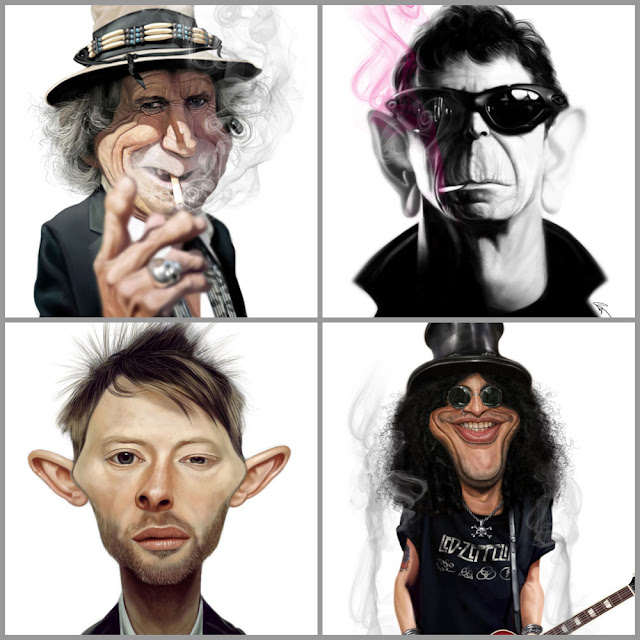 Caricaturas de astros do rock