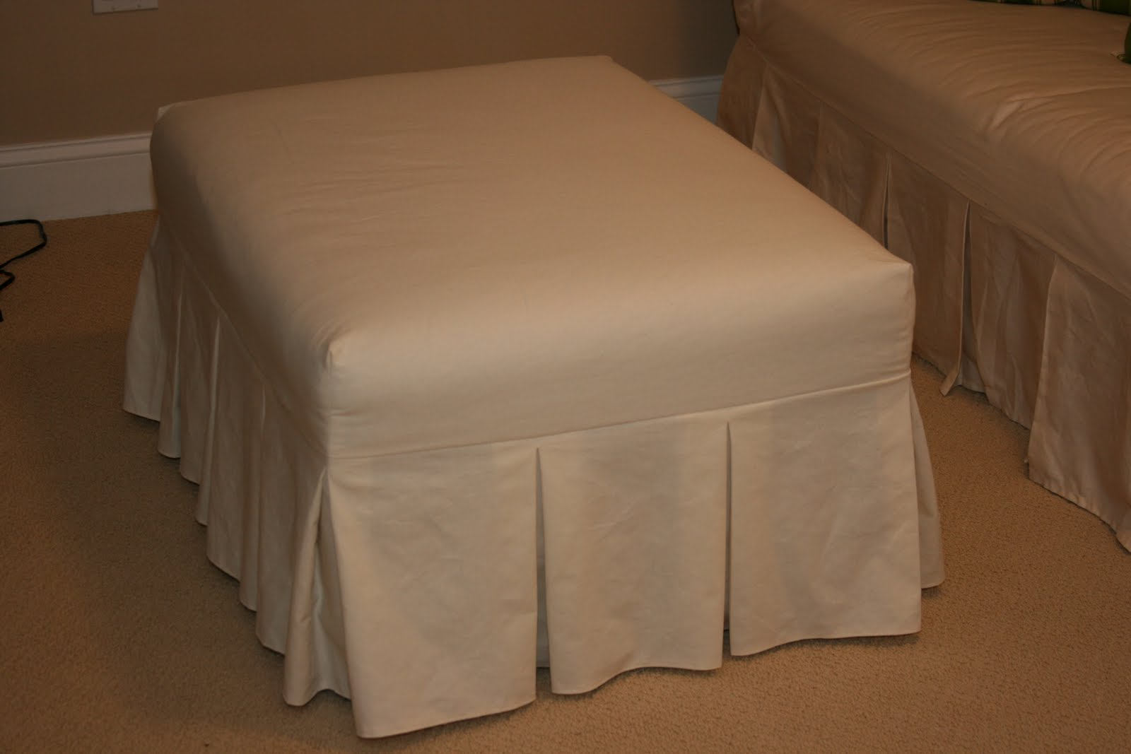 Harried Mom of Four Finished Ottoman slipcover for the playroom