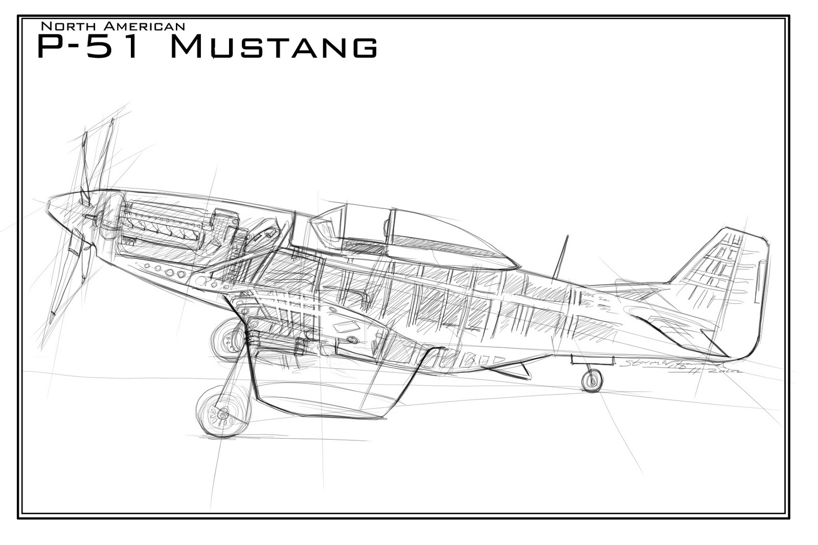 A Cross Section Of Steven W Howard Art P 51 Mustang
