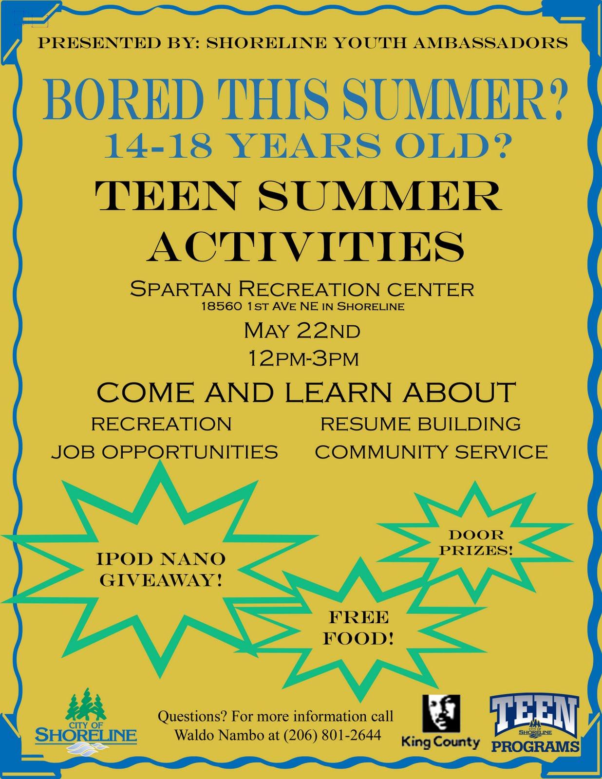 Shoreline Area News Teen Summer Activities Fair On May 22
