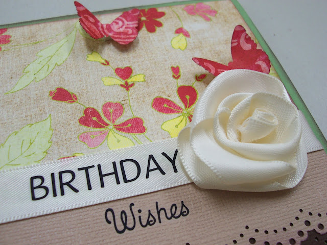 Satin Ribbon Flower Birthday Card