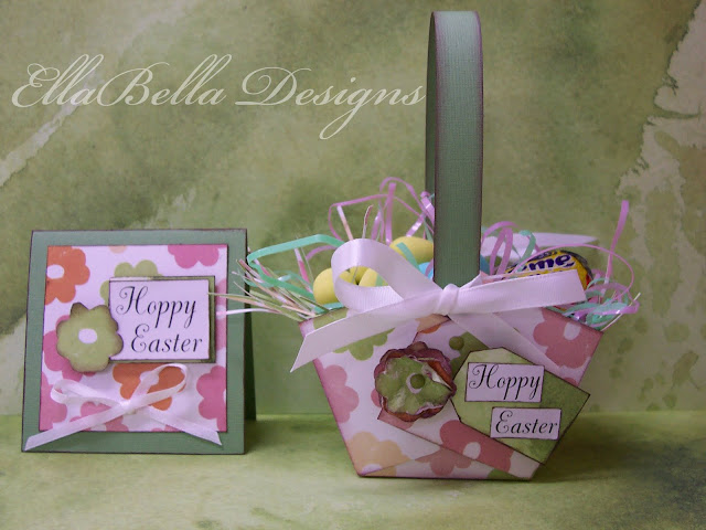 """Hoppy Easter"" Miniature Paper Basket & Card"