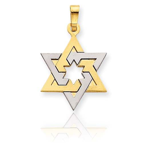 Two-Tone Gold Star of David Pendant