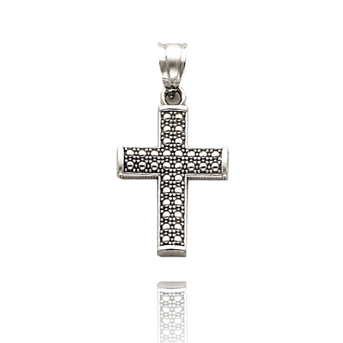Mens White Gold Cross