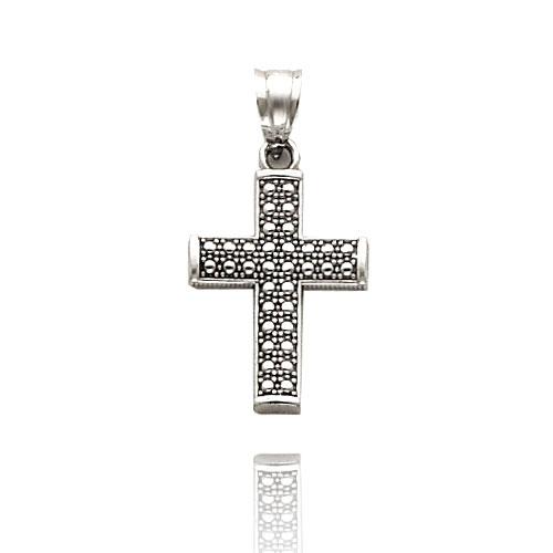 Mens White Gold Cross