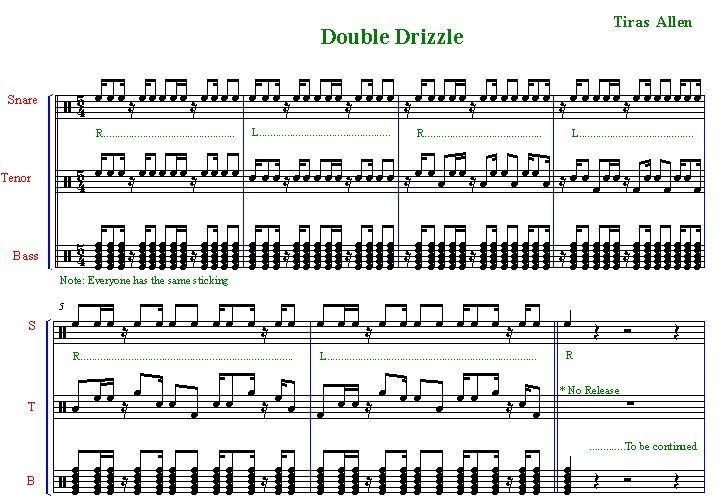 percussion and drum stuff drumline sheet music double drizzle cadence. Black Bedroom Furniture Sets. Home Design Ideas