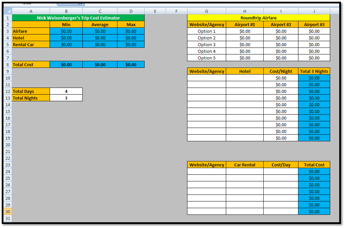 Excel Spreadsheets Help Trip Cost Estimator Spreadsheet Template Download