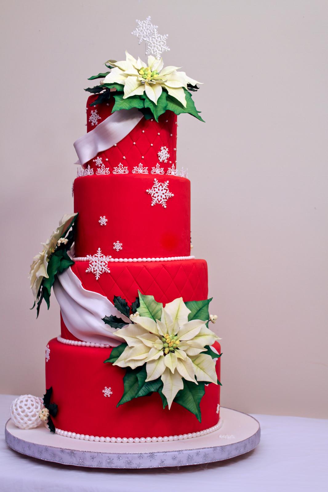 The Cake Engineer Holiday Poinsettia Cake