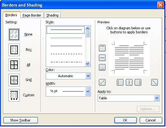 Sumber Belajar Online Membuat Garis Tabel Menjadi Transparan Di Ms Word 2003