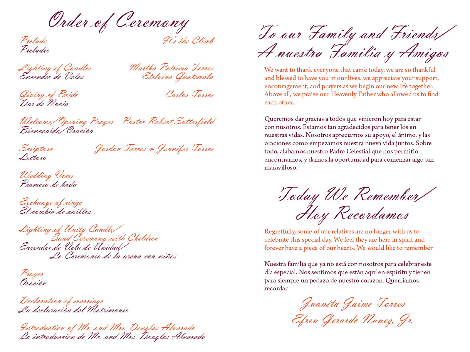 Custom printables wedding program for crystal and douglas for Bridal shower itinerary template
