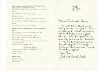 Ginna Dunlap Emmet Calligraphy Welcome Letter For Wedding Gift Bag