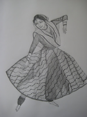 Pencil Sketches And Paintings Kathak Dancer