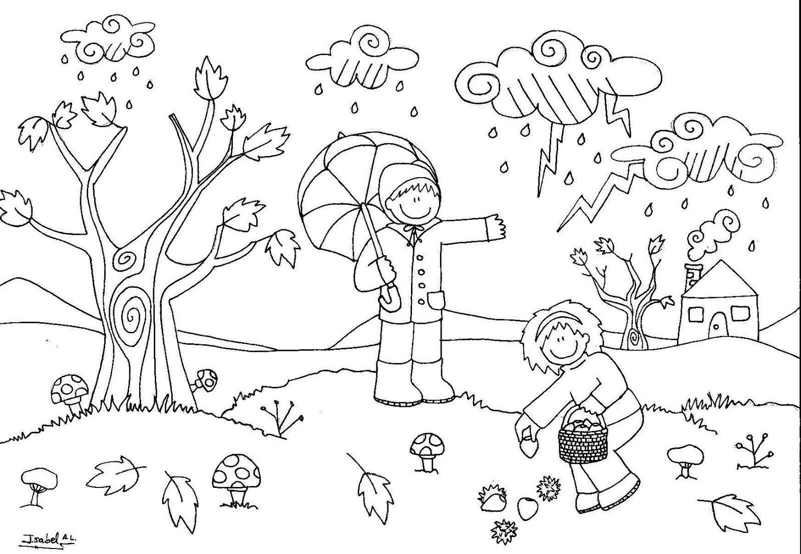 Dibujos De Las 4 Estaciones Para Colorear: Dibujos De Estaciones Del Año Para Colorear