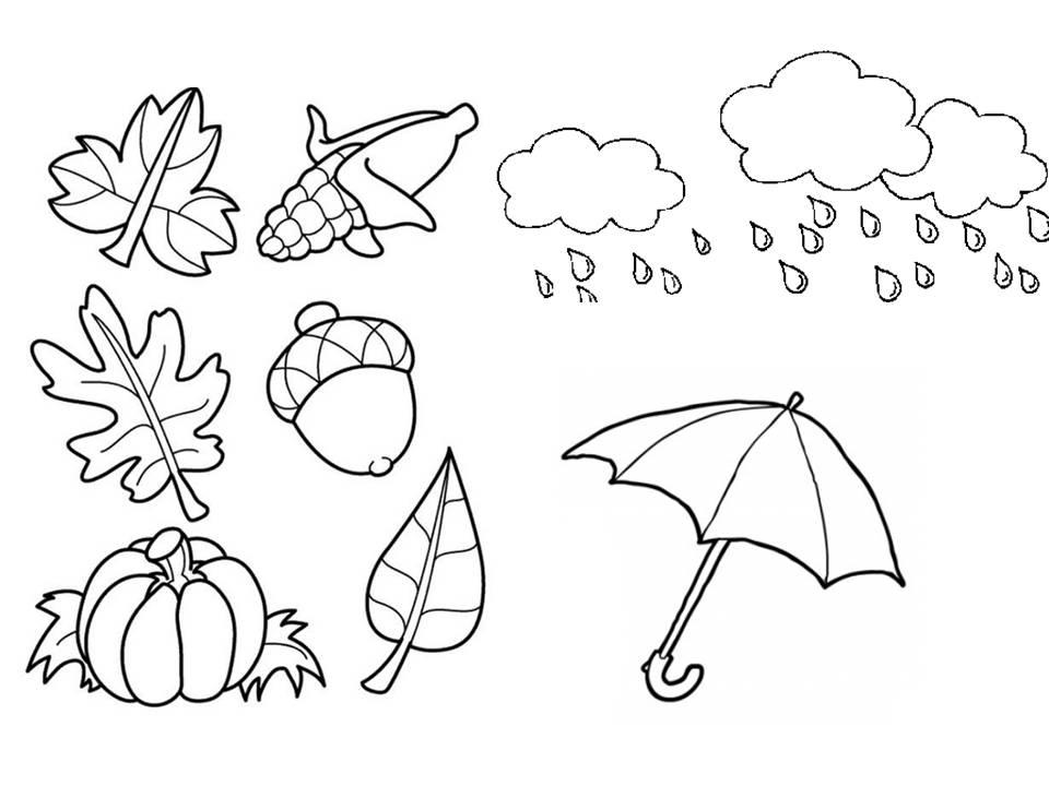 Dibujos Colorear Otono Infantil: Elementos De Invierno Para Colorear
