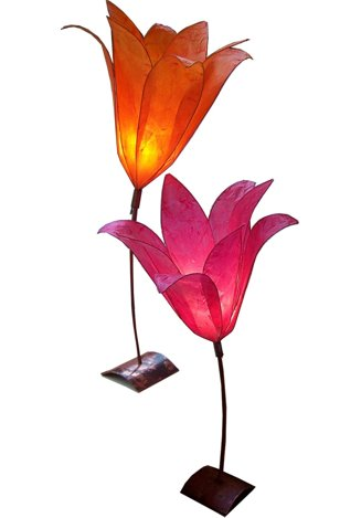 pair of colorful tissue paper lily standing lights