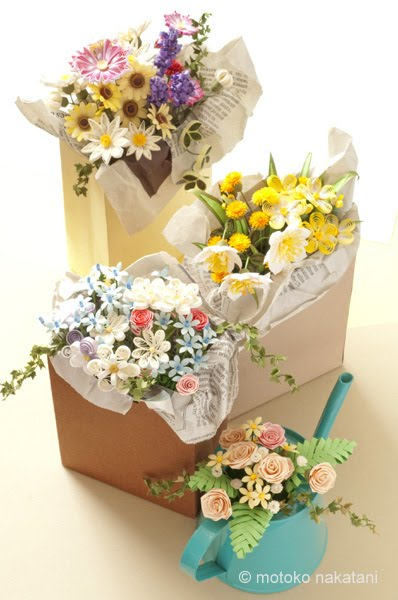miniature quilled flower arrangements