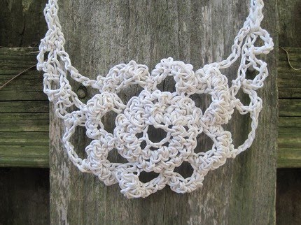 crocheted paper bib necklace