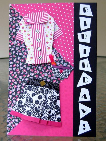 origami fashion birthday card