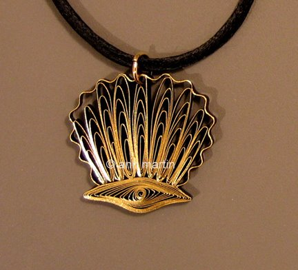 quilled scallop shell pendant on black cording